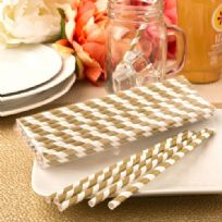 Matte Gold & White Stripes Paper Straws (20)